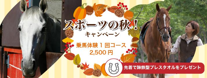【終了】スポーツの秋!乗馬キャンペーン!11/11まで